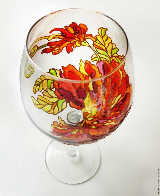 """Бокалы, стаканы ручной работы. Ярмарка Мастеров - ручная работа. Купить бокалы """"Хризантема"""". Handmade. Ярко-красный, бокалы для вина"""