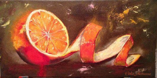 Натюрморт ручной работы. Ярмарка Мастеров - ручная работа. Купить Авторская картина маслом Сочный апельсин 20х40см. Handmade. Оранжевый