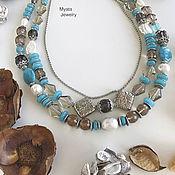 Ожерелье с раухтопазом и амазонитом