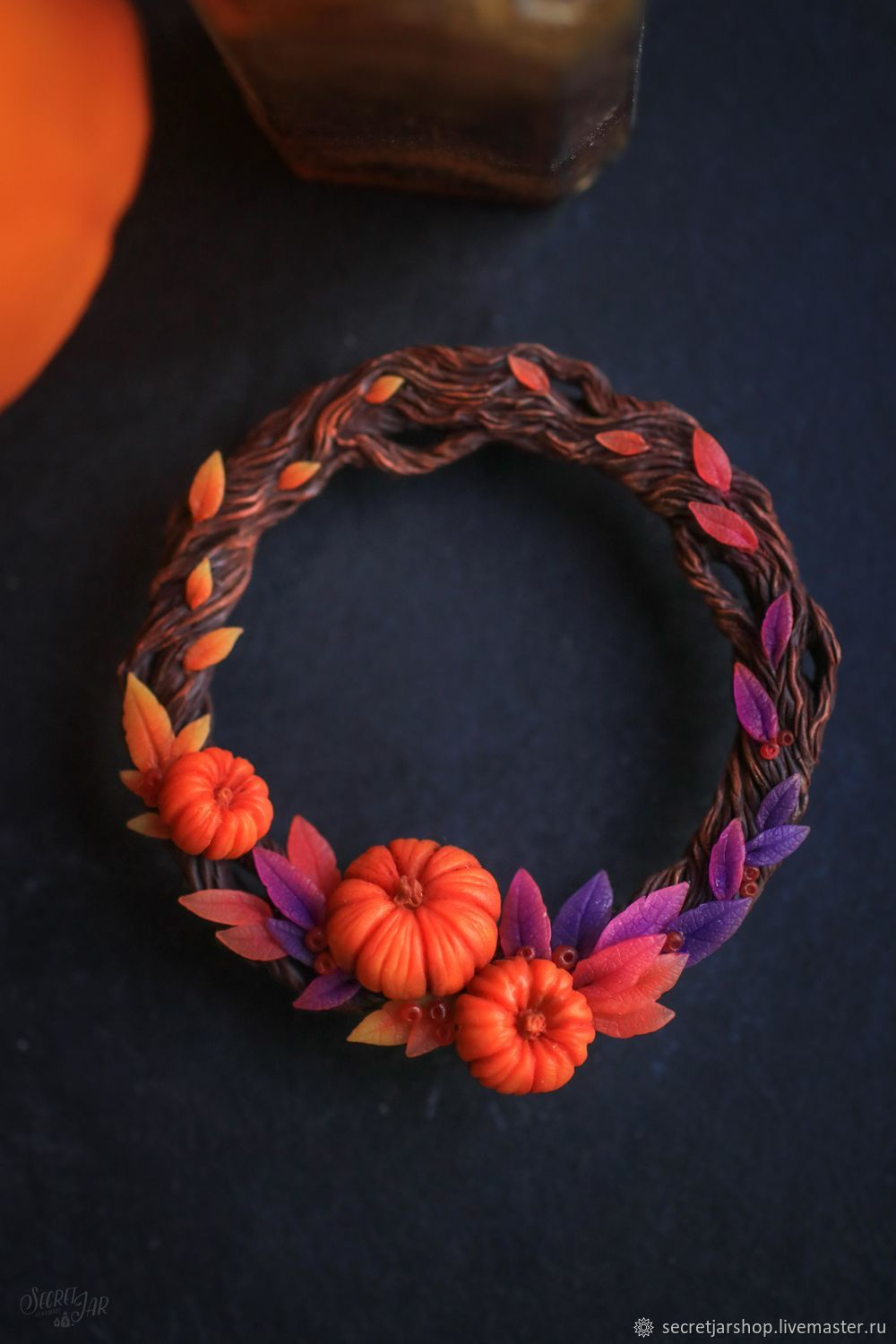 Brooch-pin: ' Pumpkin wreath', Brooches, Moscow,  Фото №1