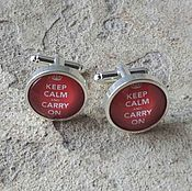 Украшения handmade. Livemaster - original item Cufflinks silver plated Keep Calm (large). Handmade.
