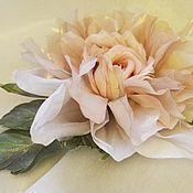 Украшения handmade. Livemaster - original item Delicate rose brooch made of silk Francesca. Handmade.
