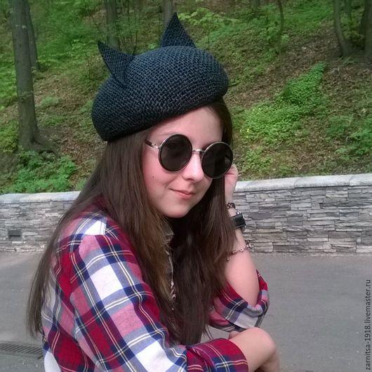 Шляпы ручной работы. Ярмарка Мастеров - ручная работа. Купить Летний беретик с ушками. Handmade. Однотонный, шляпа, летние шапочки