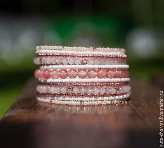 """Браслеты ручной работы. Ярмарка Мастеров - ручная работа. Купить """"Рассвет"""". Нежно-розовый мемори-браслет с натуральным камнем. Handmade."""