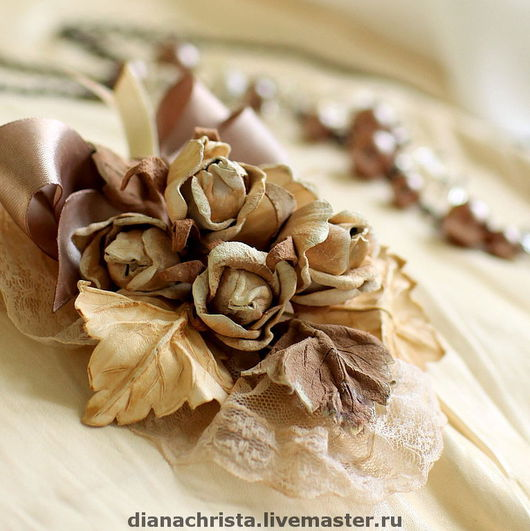"""Броши ручной работы. Ярмарка Мастеров - ручная работа. Купить Брошь из натуральной кожи """" Роза крем - брюле"""". Handmade."""
