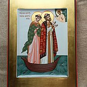 Картины и панно handmade. Livemaster - original item Saint Peter and Fevronia of Murom are miracle Workers.The icon is handwritten. Handmade.