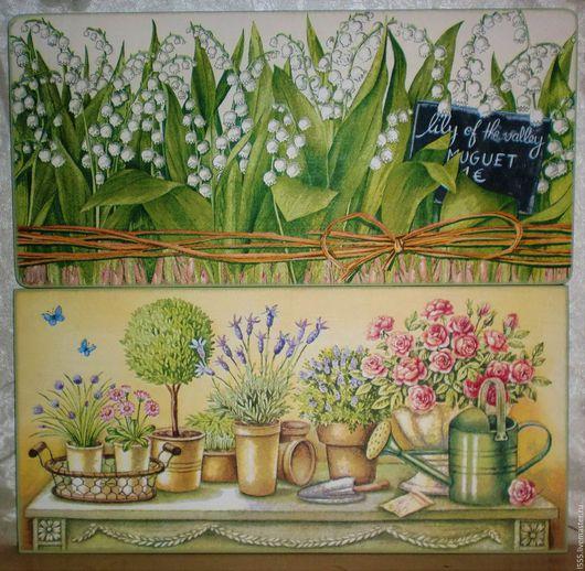 """Кухня ручной работы. Ярмарка Мастеров - ручная работа. Купить """"Ландыши и другие цветы"""" Разделочная доска панно. Handmade. Комбинированный"""