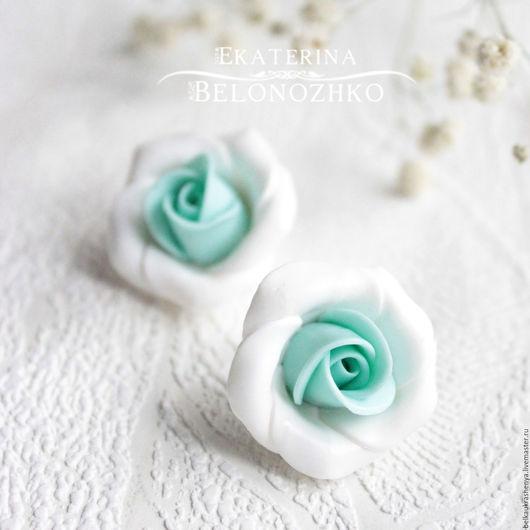Серьги ручной работы. Ярмарка Мастеров - ручная работа. Купить Серьги Мятная роза. Handmade. Мятный, мятная роза, цветок
