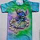 """Одежда унисекс ручной работы. Ярмарка Мастеров - ручная работа. Купить Детская футболка с рисунком """"Stitch"""". Handmade. Разноцветный, Стич"""
