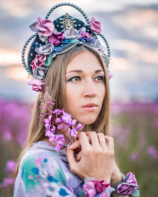 Кокошник стилизованный «Иван-Чай», Шляпы, Москва, Фото №1