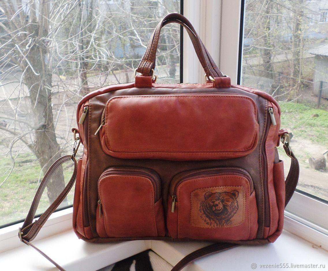 Bag leather men's engraved custom for Elizabeth, Men\'s bag, Noginsk,  Фото №1
