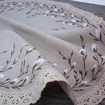 Для дома и интерьера handmade. Livemaster - original item Verbochka Large linen napkin with hand painted. Handmade.