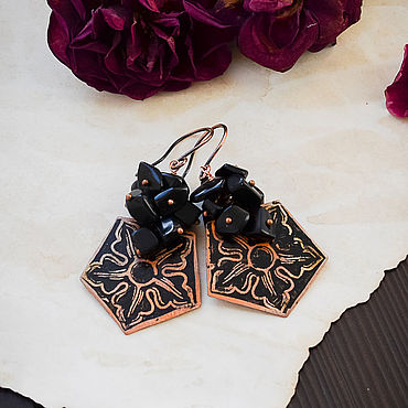 Decorations handmade. Livemaster - original item Copper earrings with black obsidian boho geometric Flower earrings. Handmade.