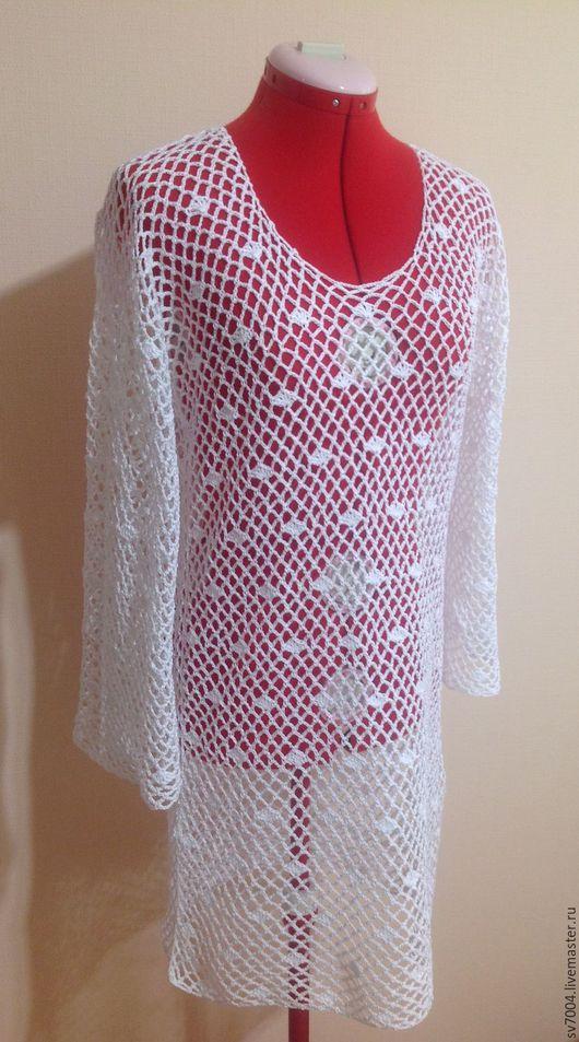 Платья ручной работы. Ярмарка Мастеров - ручная работа. Купить Туника - платье. Handmade. Белый, платье летнее, туника крючком