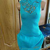 """Одежда ручной работы. Ярмарка Мастеров - ручная работа Вязаное платье """"Голубая лагуна """"  с открытой спинкой. Handmade."""