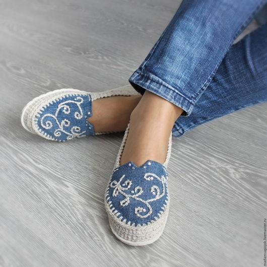 """Обувь ручной работы. Ярмарка Мастеров - ручная работа. Купить Льняная обувь """"Эко МОДА"""". Handmade. Бежевый, туфли джинсовые"""