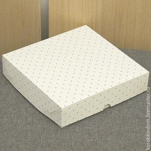 Упаковка ручной работы. Ярмарка Мастеров - ручная работа. Купить 16х16х3,5 - коробка белая в сиреневый горошек крышка-дно. Handmade.
