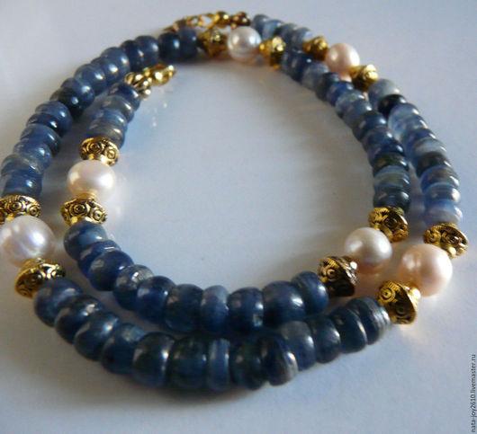 Колье, бусы ручной работы. Ярмарка Мастеров - ручная работа. Купить Ожерелье из кианита с жемчугом. Handmade. Ожерелье из кианита