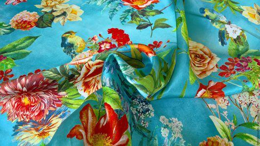 Шитье ручной работы. Ярмарка Мастеров - ручная работа. Купить Итальянский плательно-блузочный набивной шелк. Handmade. Голубой