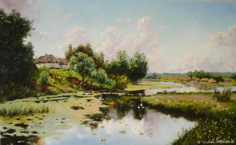 Картина маслом. Летний пейзаж. Сельский вид с озером и селом, Картины, Киев,  Фото №1