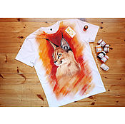 Одежда handmade. Livemaster - original item T-shirt with hand-painted Caracal. Handmade.