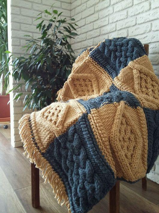 Текстиль, ковры ручной работы. Ярмарка Мастеров - ручная работа. Купить Вязаный теплый плед. Handmade. Плед вязаный, плед