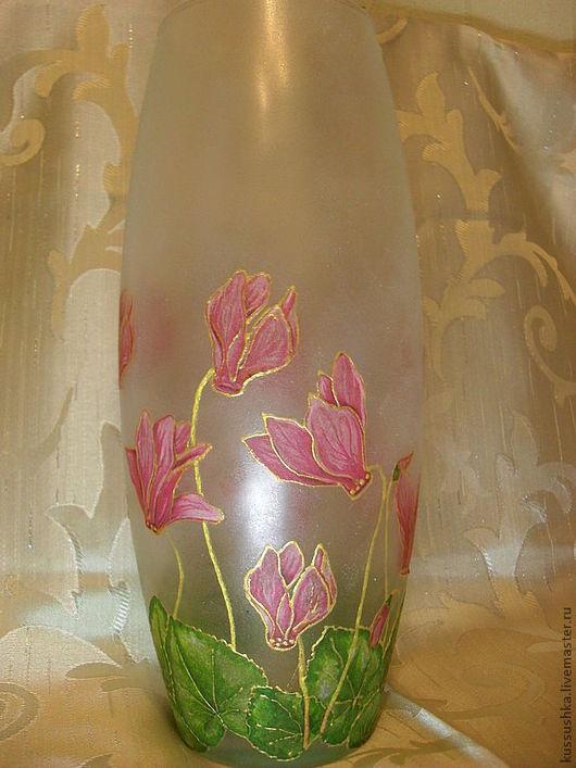 Вазы ручной работы. Ярмарка Мастеров - ручная работа. Купить Ваза с цветами. Handmade. Розовый, ваза с цветами, салфетки декупажные