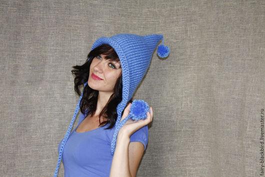 """Шапки ручной работы. Ярмарка Мастеров - ручная работа. Купить Шапка """"Эльф"""" с помпонами. Handmade. Голубой, шапка для девушки"""