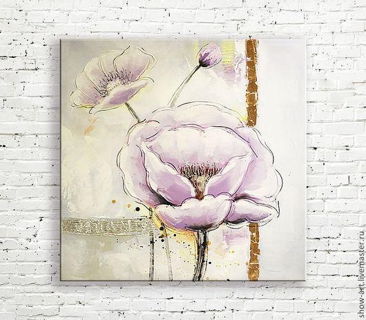 """Картины цветов ручной работы. Ярмарка Мастеров - ручная работа. Купить Картина маслом """"Лиловые маки"""". Handmade. Розовый, фиолетовый"""