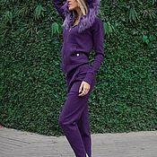 Одежда ручной работы. Ярмарка Мастеров - ручная работа Новинка! Кашемировый костюм с капюшоном и опушкой из песца Фиолетовый. Handmade.