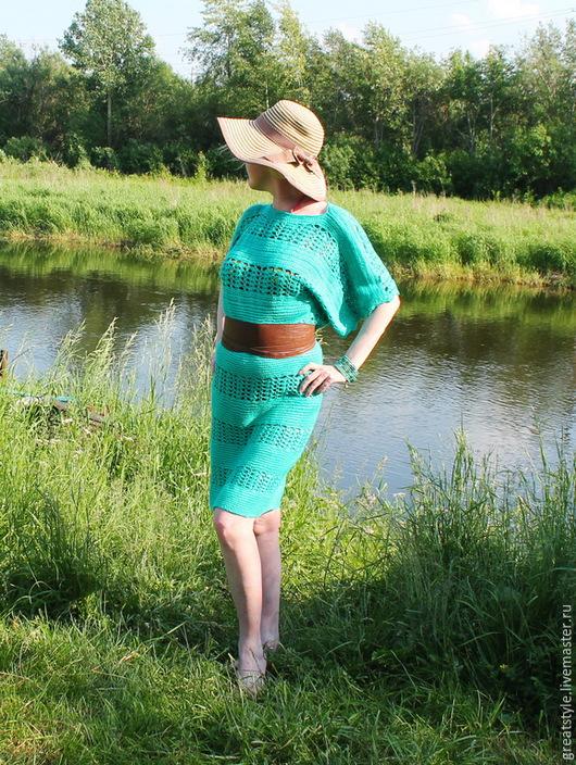 Платья ручной работы. Ярмарка Мастеров - ручная работа. Купить Летнее платье вязаное крючком. Handmade. Зеленый, вязаное платье