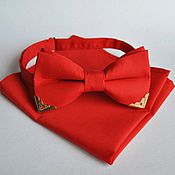 Аксессуары handmade. Livemaster - original item Red tie with corners of gold Handkerchief Pasha red. Handmade.