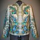 """Верхняя одежда ручной работы. Ярмарка Мастеров - ручная работа. Купить Куртка-жакет из платка """"Лариса"""".. Handmade. Голубой"""