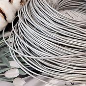 Материалы для творчества handmade. Livemaster - original item 1 m Cord leather 2 mm grey, silver (746-GREY). Handmade.
