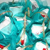 Цветы и флористика ручной работы. Ярмарка Мастеров - ручная работа Морской бриз Бирюзовый букет с Рафаэлло в органзе. Handmade.