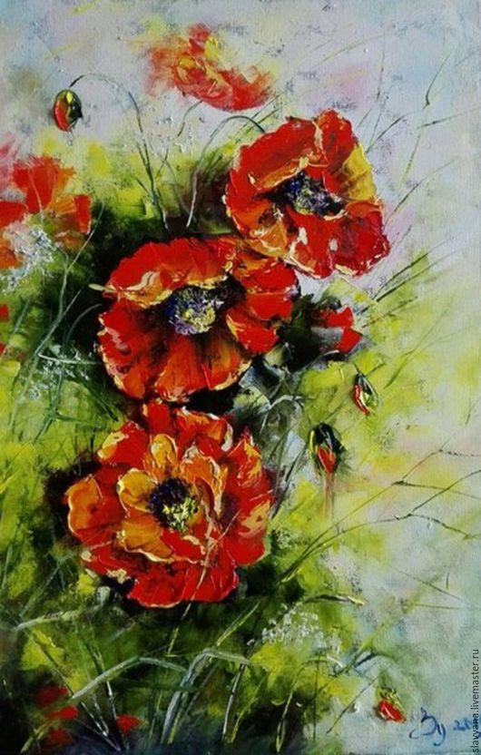 Картины цветов ручной работы. Ярмарка Мастеров - ручная работа. Купить Маки. Handmade. Ярко-красный, поле, ярко-зелёный