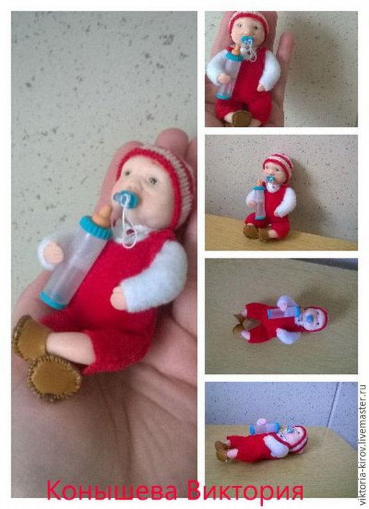 Коллекционные куклы ручной работы. Ярмарка Мастеров - ручная работа. Купить Малыш-гномик. Handmade. Ярко-красный, мягконабивное тельце