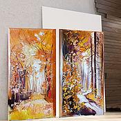 Картины и панно handmade. Livemaster - original item Paired oil paintings Amber Forest. Handmade.