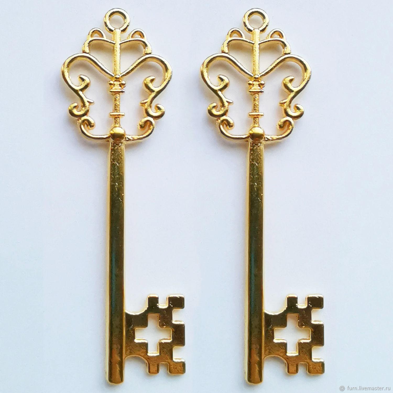 Большой золотой ключ 57х18 арт. У-867 золото винтаж, Декор для декупажа и росписи, Москва,  Фото №1