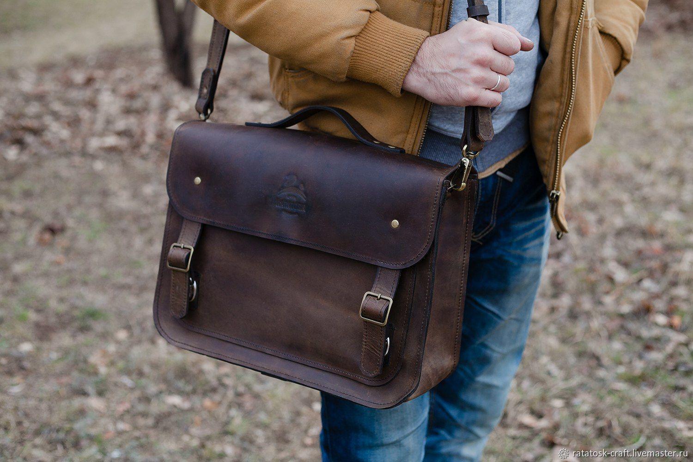 Briefcase leather male David, Men\'s bag, Volgograd,  Фото №1