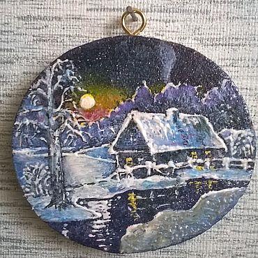 Сувениры и подарки ручной работы. Ярмарка Мастеров - ручная работа Мини-панно магнит Зимний ночной пейзаж. Handmade.