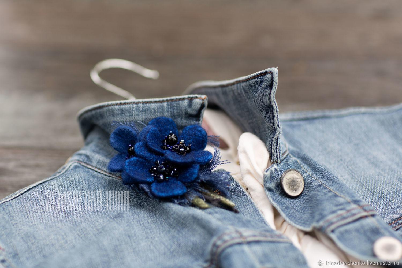 Валяная брошь «Blue violets», Брошь-булавка, Краснодар,  Фото №1