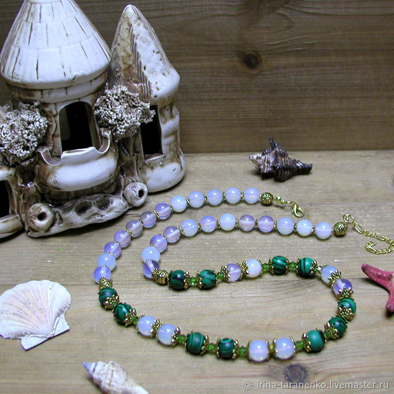Moonstone and malachite beads ' Spring charm», Beads2, Moscow,  Фото №1