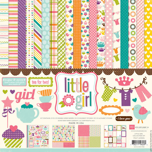 """Открытки и скрапбукинг ручной работы. Ярмарка Мастеров - ручная работа. Купить Набор бумаги ECHO PARK """"Little GIRL"""". Handmade."""