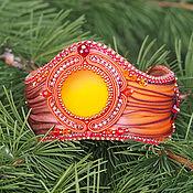 Украшения handmade. Livemaster - original item Auburn wide bracelet with Shibori silk ribbon. Handmade.