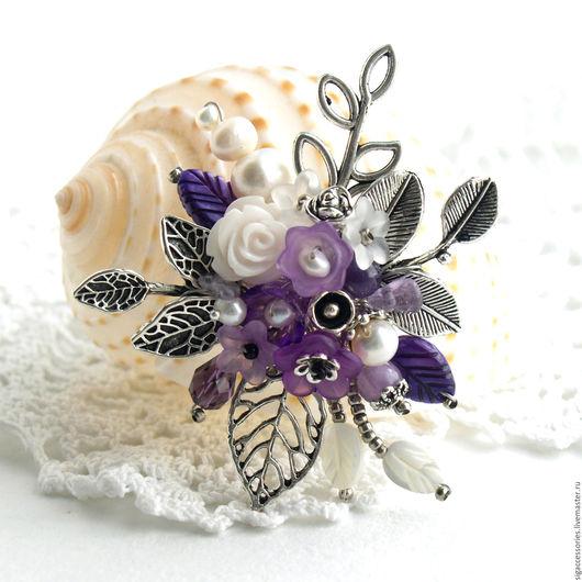 """Броши ручной работы. Ярмарка Мастеров - ручная работа. Купить """"Виолетта"""" - брошь. Handmade. Фиолетовый, брошь композиция, оригинальная брошь"""