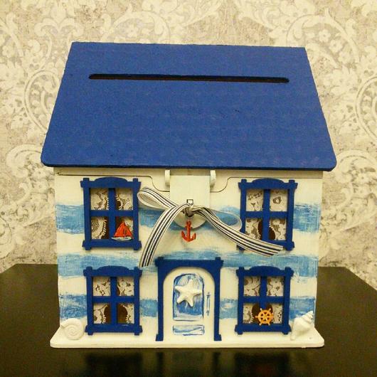 Свадебные аксессуары ручной работы. Ярмарка Мастеров - ручная работа. Купить Свадебная  казна-домик  в  морском  стиле. Handmade.