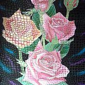 Аксессуары ручной работы. Ярмарка Мастеров - ручная работа Розы на черном.( шейный шарфик). Handmade.