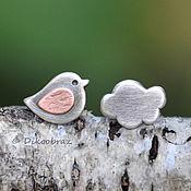 Украшения handmade. Livemaster - original item Stud earrings: stud earrings 925 silver, copper, Bird-cloud earrings. Handmade.
