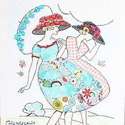 """Картины и панно ручной работы. Ярмарка Мастеров - ручная работа Картина в лоскутной технике  """"Дамы. Полдень"""". Handmade."""